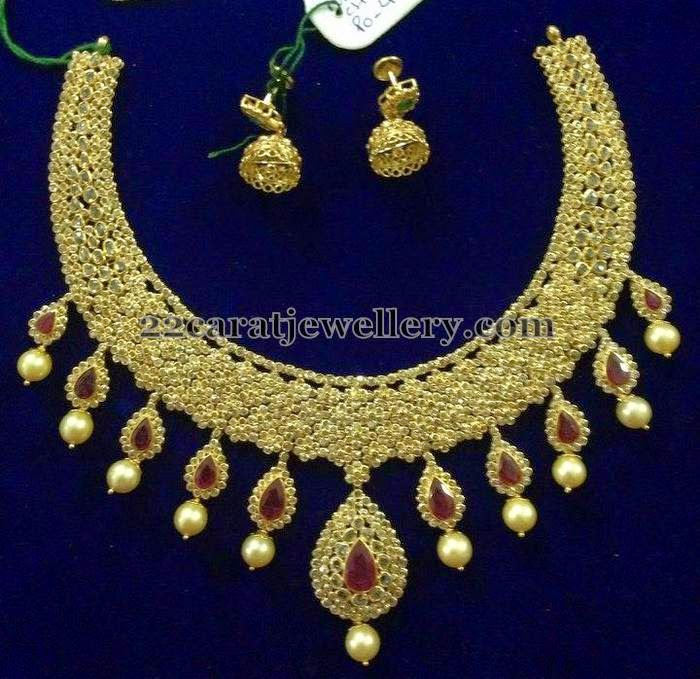 86 Grams Chakri Diamond Ruby Set