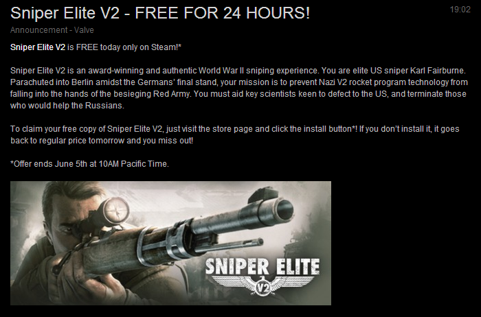 Sniper Elite V2 gratis en Steam, hasta las 19h.