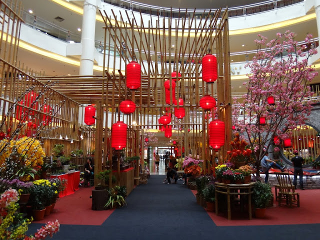 The entrance view of Chinese New Year mall decoration at Mid Valley Mall in Kuala Lumpur, Malaysia