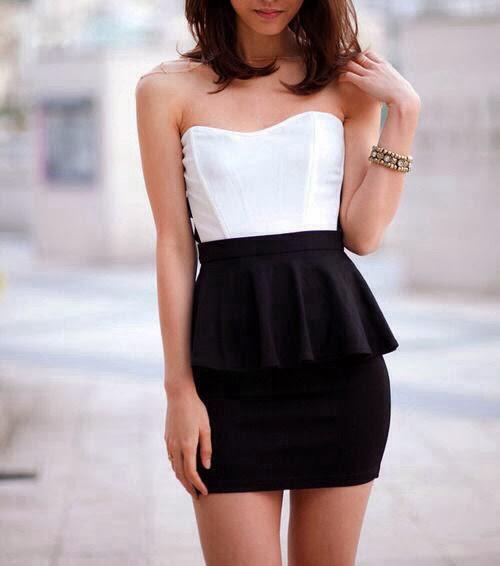 Simple white top with peplum high waist black skirt ...