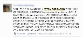 Mensaje en Facebook sobre borrachera