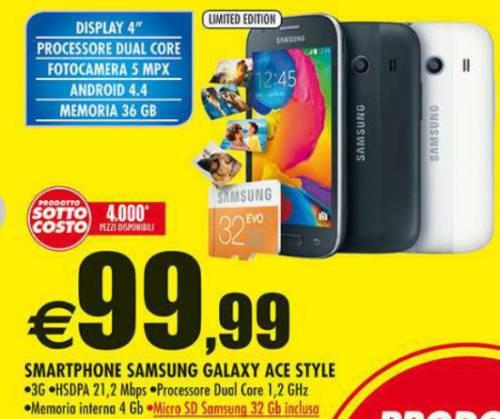 In offerta sottocosto nel volantino Auchan lo smartphone kitkat Galaxy Ace Style