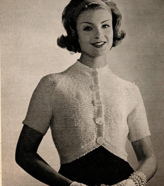 vintage free knitting pattern 1950s 1960s white bolero