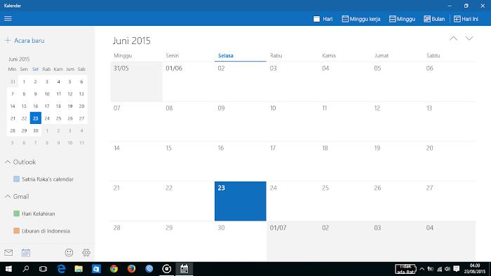 Kalender, tampilan bulan masehi