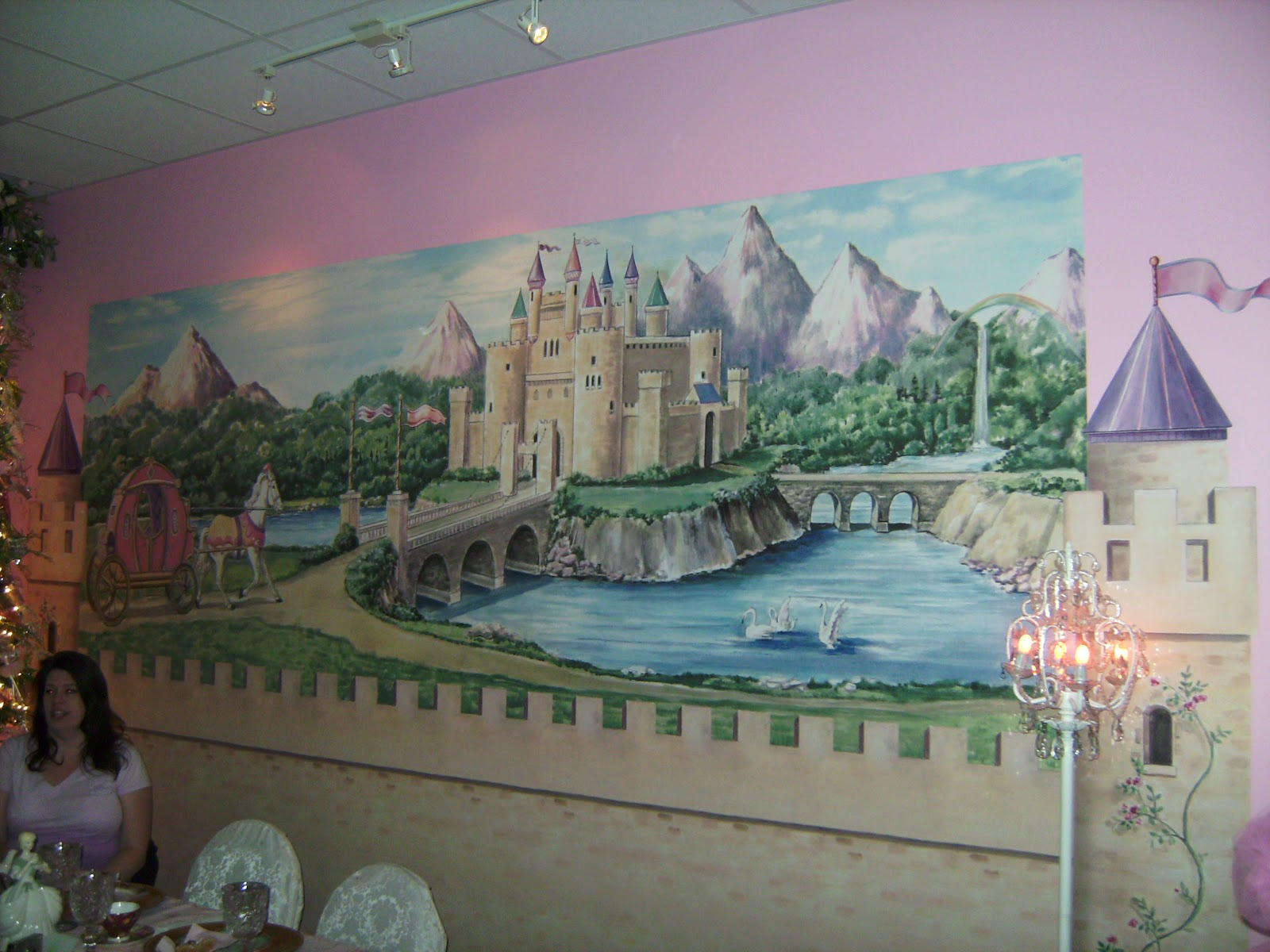 Relevant tea leaf isabella and brooke at tea party castle for Castle mural wallpaper