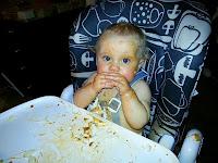 Preslie loves spaghetti~ 6-13-2013