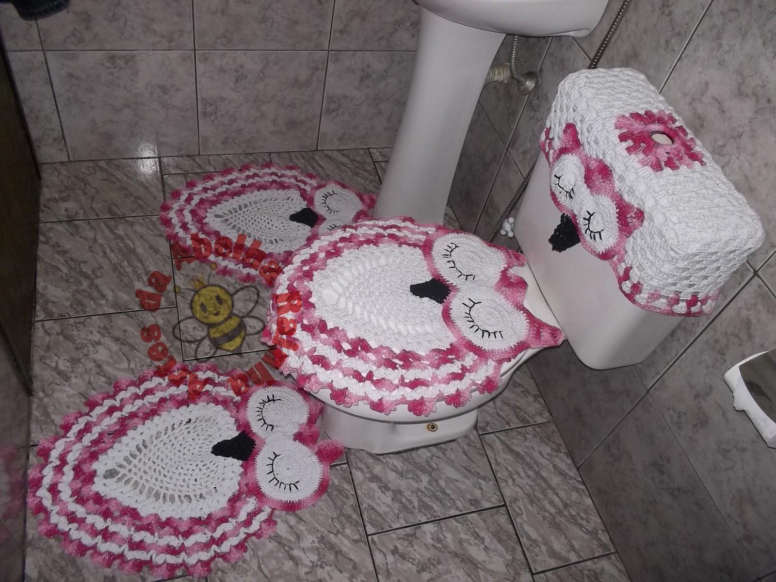 Artes da Abelha Rainha: Jogo de banheiro coruja branco e rosa #95363A 1600x1200 Banheiro Branco E Rosa