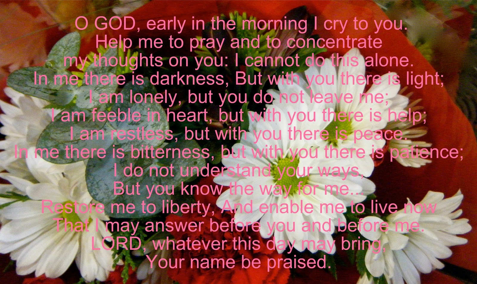 Flowery blessing prayer of guidance o god early in the morning prayer of guidance o god early in the morning i cry to you help me to pray and to concentrate my thoughts on you i cannot do this alone publicscrutiny Gallery