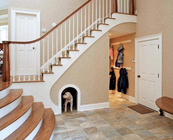 buda dla psa pod schodami