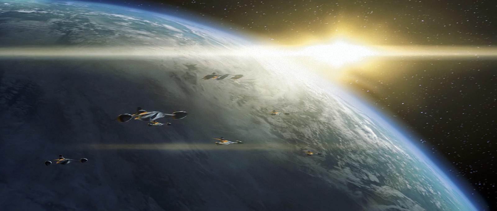 орбитальная атака планеты из космоса ударной группой штурмовиков звёздного крейсера Нибиру