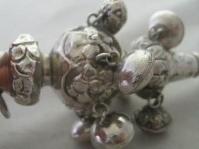 ANTIQUE VICTORIAN STERLING SILVER BABYS BELL RATTLE WITH CORAL TEETHER