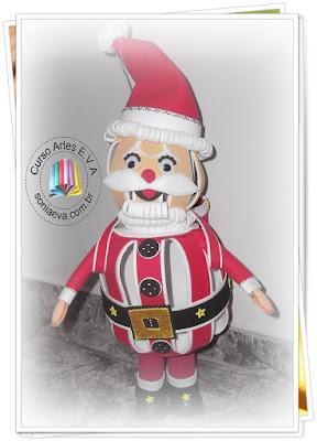 Papai Noel divertido em E.V.A, ele gira e pula