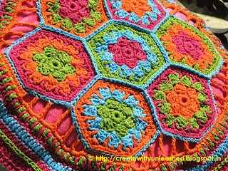 Crochet hexagon cushion cover1