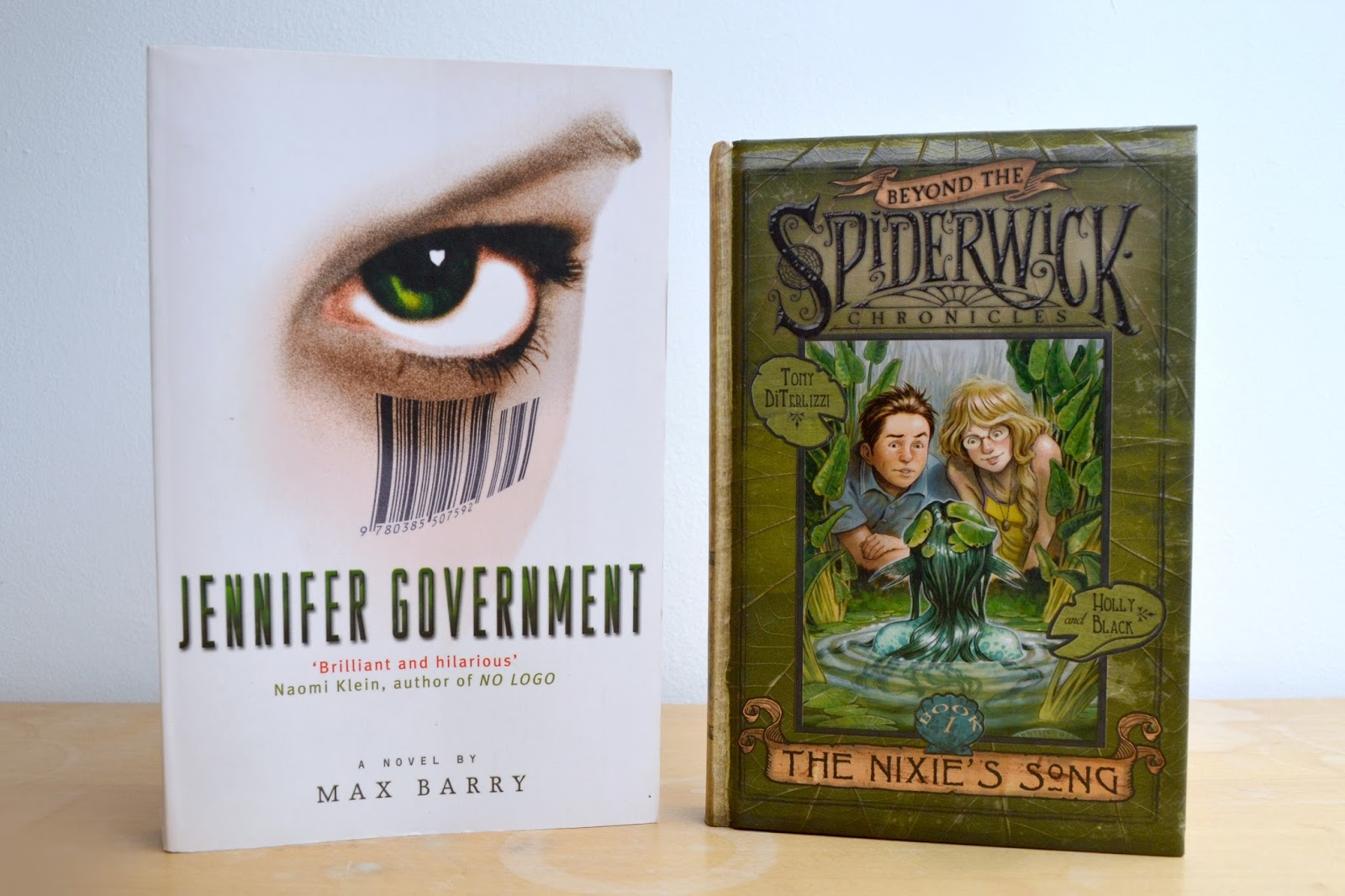 Picture of Jennifer Government by Max Barry and The Nixie's Song by Tony DiTerlizzi and Holly Black.