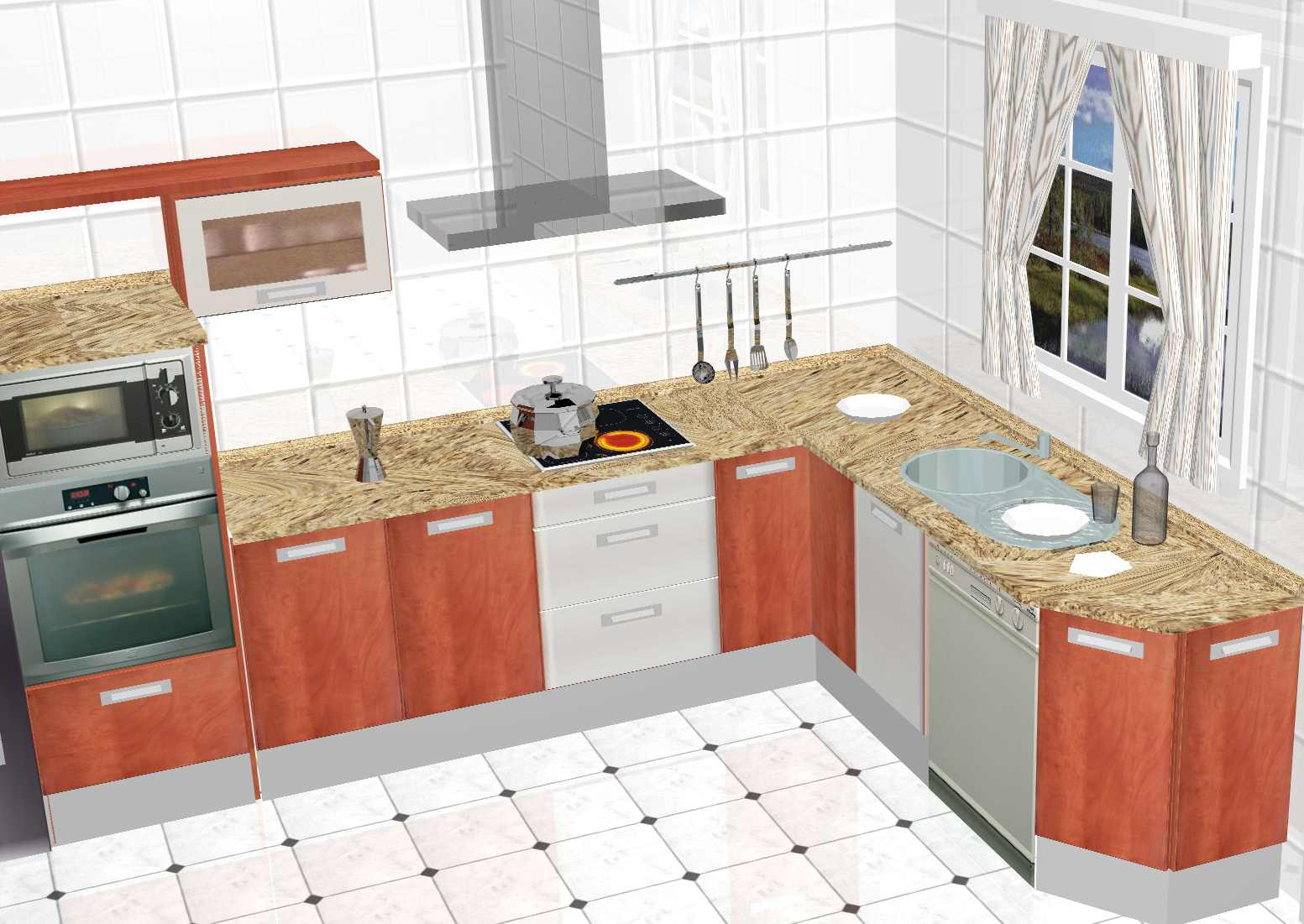 Dise o de cocinas en 3d fotorealismo planos dise o de - Cocinas con diseno ...