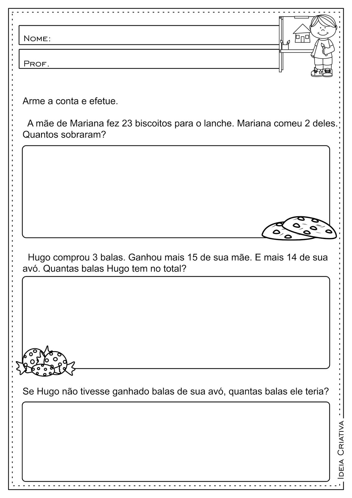Atividades Educativas Operações Básicas (Subtração, Multiplicação, Divisão e Adição) Matemática para Ensino Fundamental
