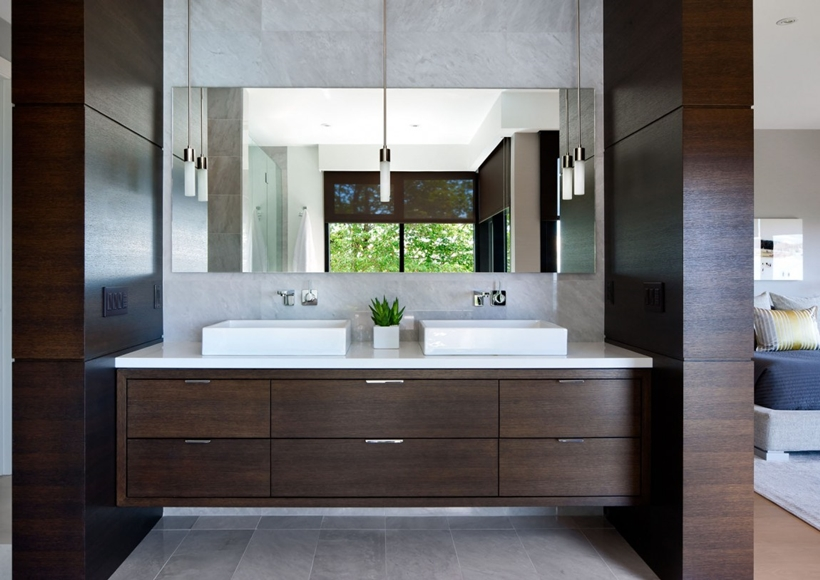 Bathroom furniture in Elegant modern house in west Vancouver, Canada