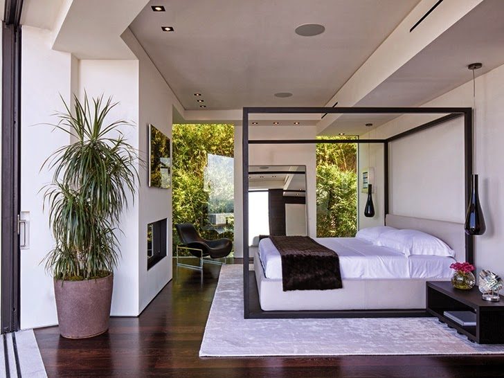 White bedroom in Perfect modern mansion in Beverly Hills