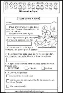 Avaliação de português - 3º ano-tema água