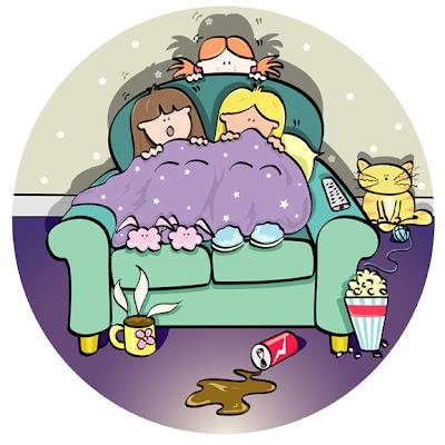 Three girls watching a scary film