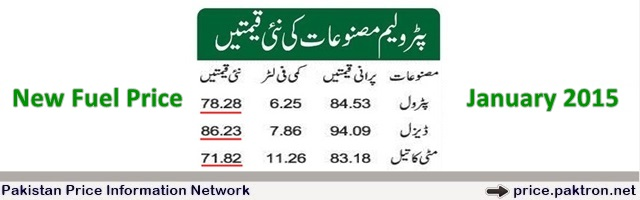 January 2015 petrol diesel fuel price Pakistan