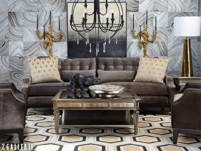 Rosa beltran design more marbled walls for Z gallerie living room ideas