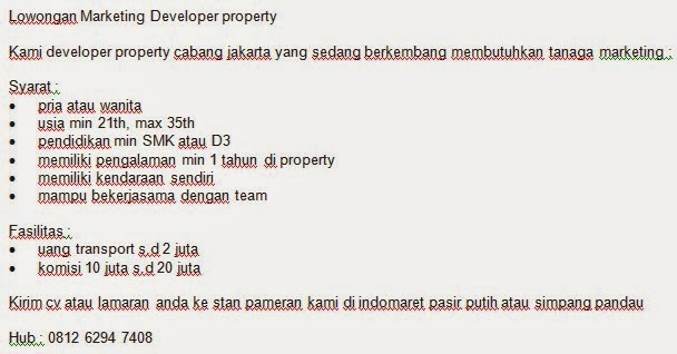 Lowongan Marketing Developer property