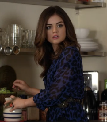 "Aria's Free People Animal Print Easy Rider Blouse Pretty Little Liars Season 3, Episode 18: ""Dead to Me"""