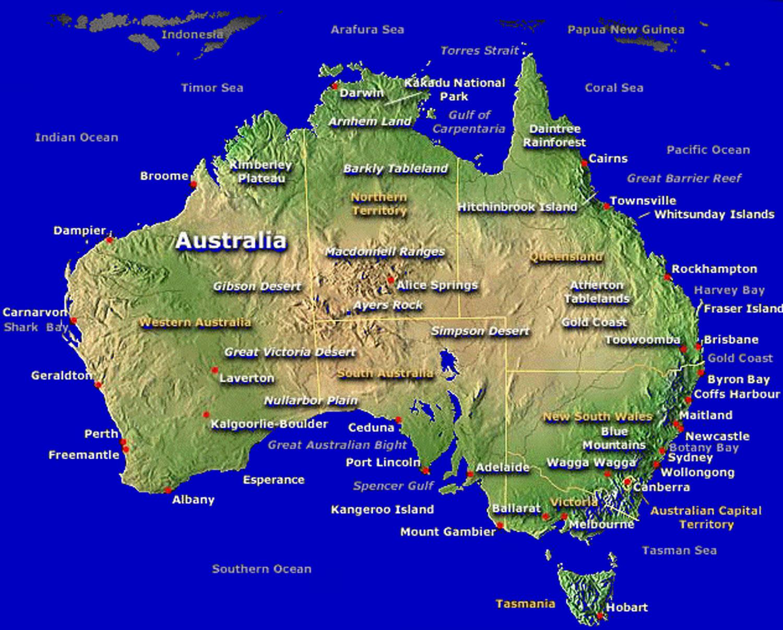 Australia Tourism Australia Tourist Attractions Map Of Australia