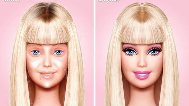Barbie s make-upem a Barbie bez Make-upu