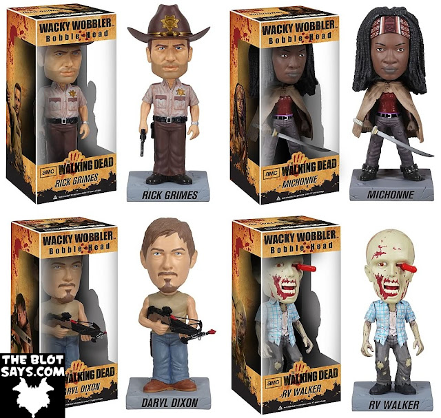 The Walking Dead Television Series Wacky Wobbler Bobble Heads by Funko - Rick Grimes, Michonne, Daryl Dixon & RV Walker Zombie