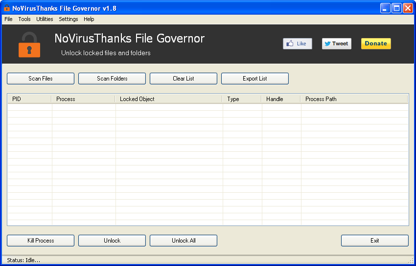 NoVirusThanks File Governor (Pantalla principal)