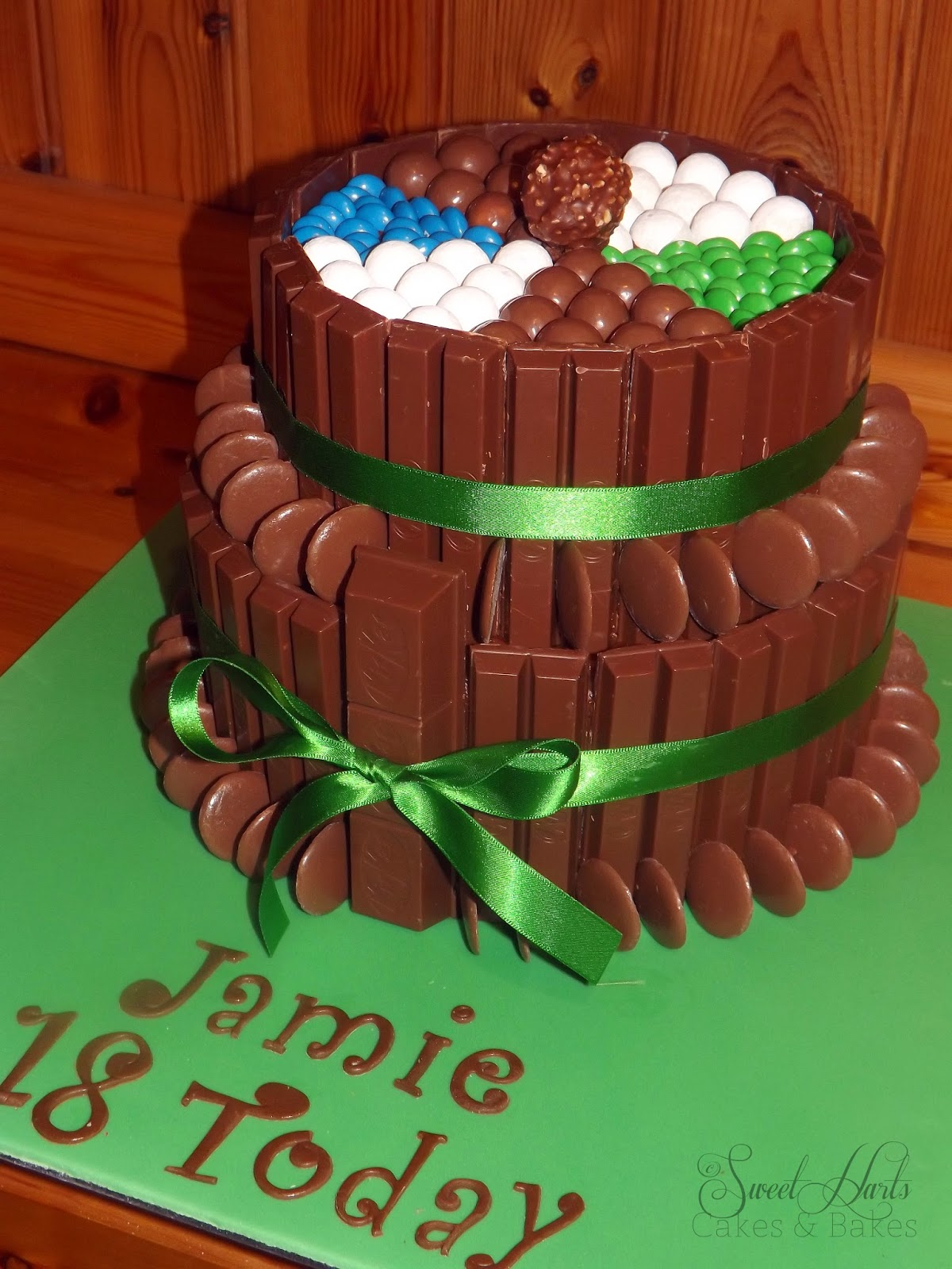 2 tier chocolate candy covered cake