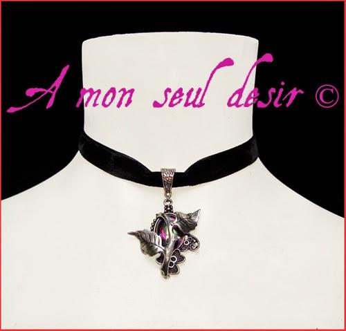 Collier ras du cou victorien gothique velours noir black velvet gothic lolita choker goth thorn necklace belle épine