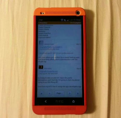 HTC one m7 official Double dip Red orange case