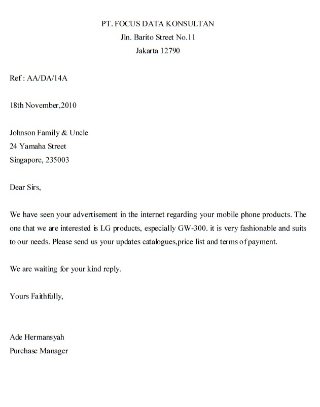 INQUIRY LETTER – Sample of Inquiry Letter in Business