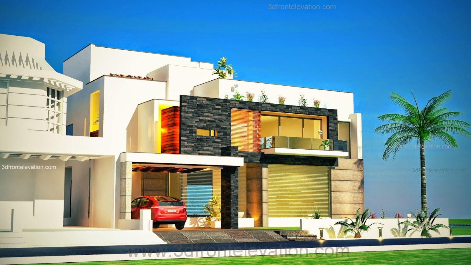 3d front new beautiful modern contemporary for Modern home design 3d