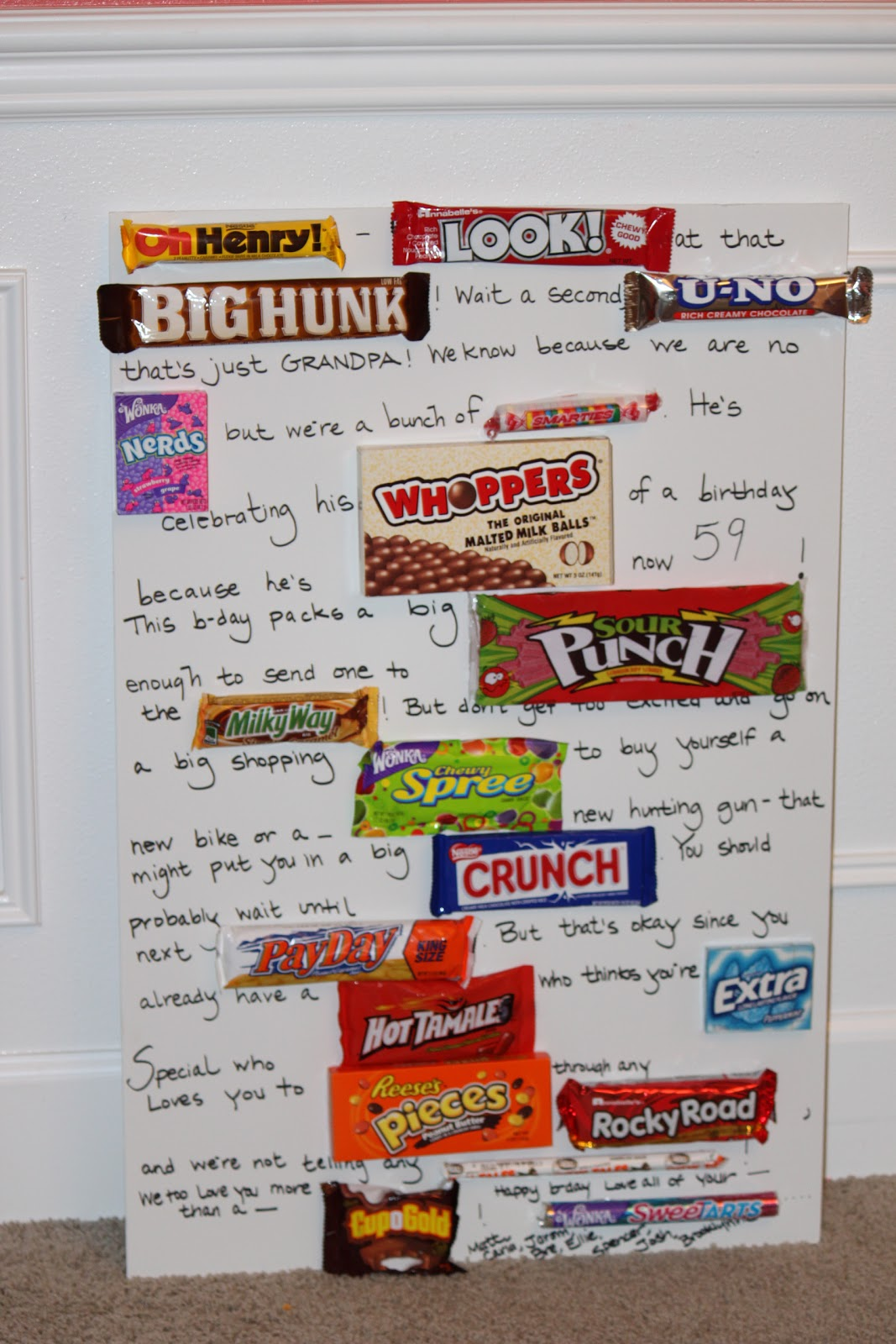 Birthday sayings with candy bars candy bar poster ideas with birthday card made with candy bars best cars bookmarktalkfo Choice Image