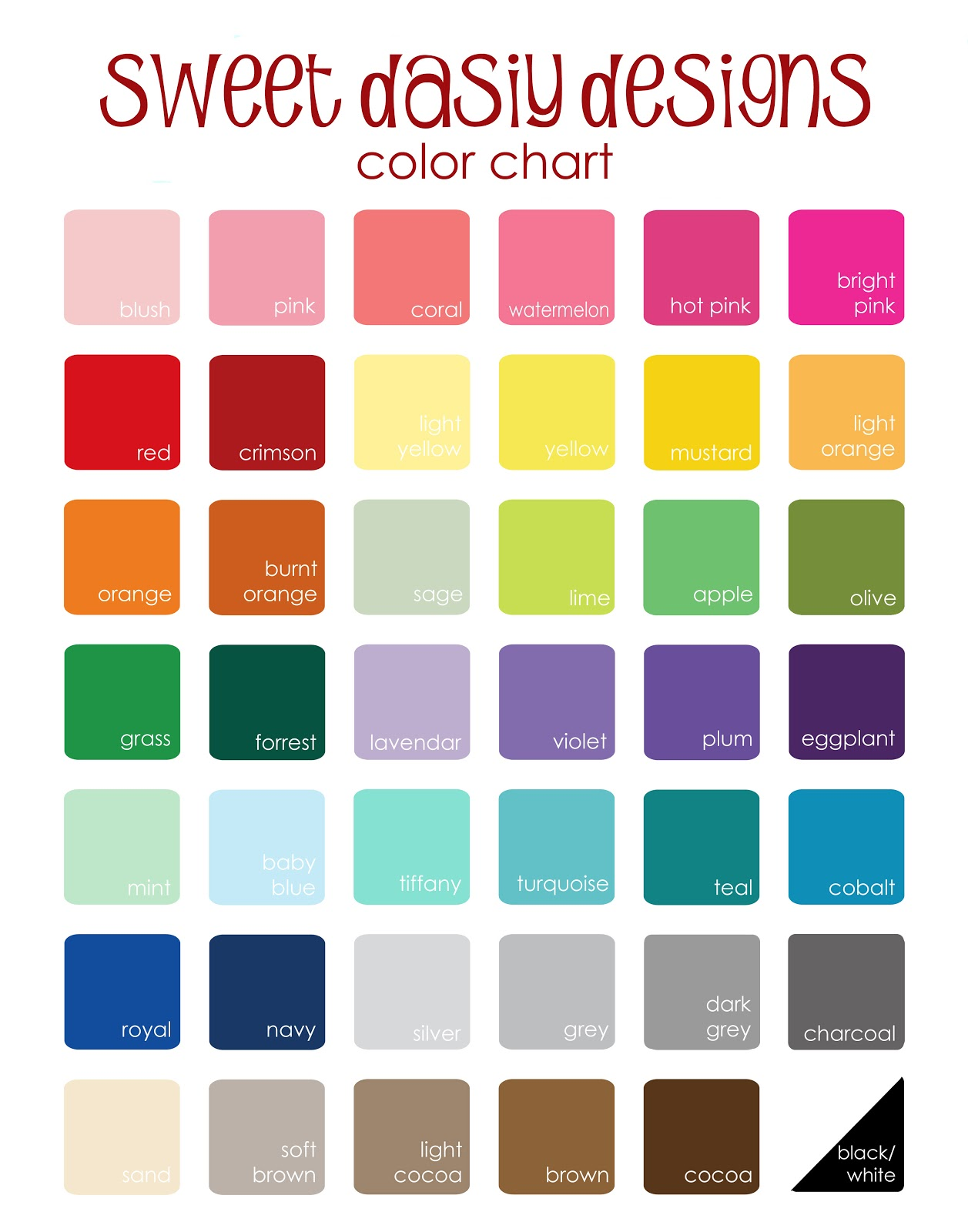 Witty image inside printable color chart