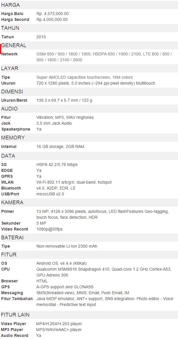 Spesifikasi Galaxy A5