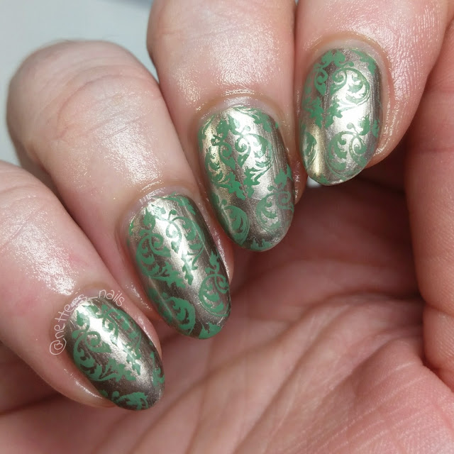 nails with Julep Savoy stamped damask pattern in Revlon Lime Basil