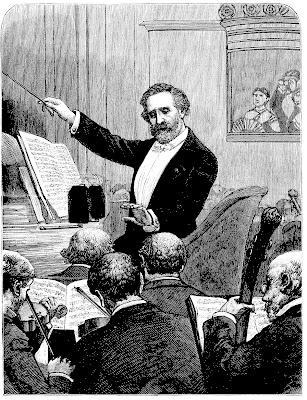 chef d'orchestre, gravure, musique classique, loge, tuxedo, smoking