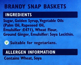 Askeys Vegan Brandy Snap Basket ingredients