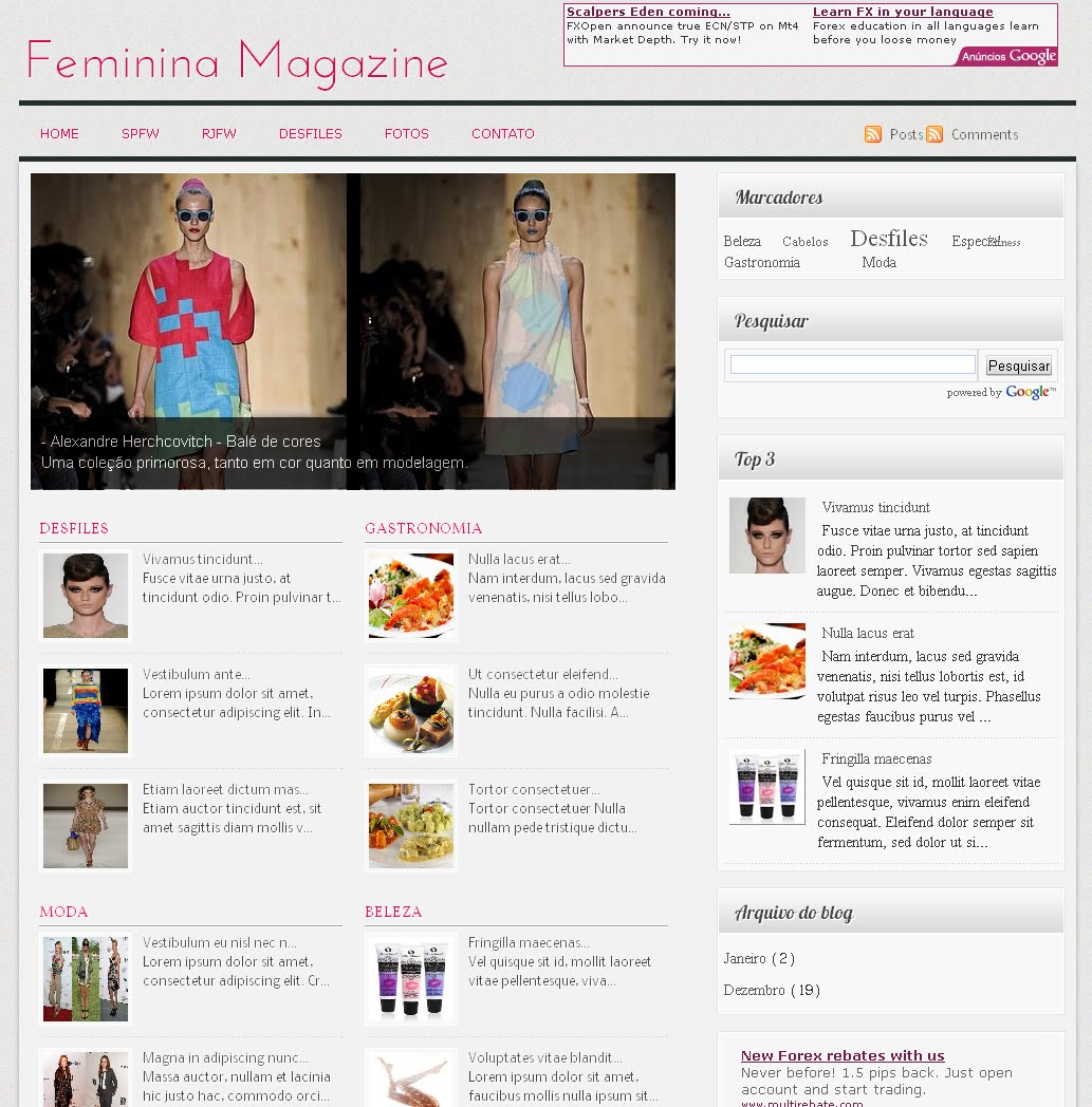 feminina magazine blogger template blog layouts for blogspot free professional blogger templates. Black Bedroom Furniture Sets. Home Design Ideas