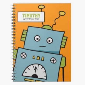 Cute Robot on Orange by IckleCritters at Zazzle