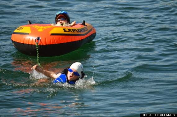 Kids can be pretty remarkable. - This is Noah who's 8. He carried his disabled 6 year old brother through a triathlon.