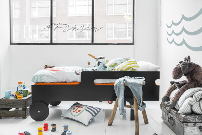 R toddler bed dark chocolate Moshi Moshi kids bedding  © Paulina Arcklin Photography + Styling