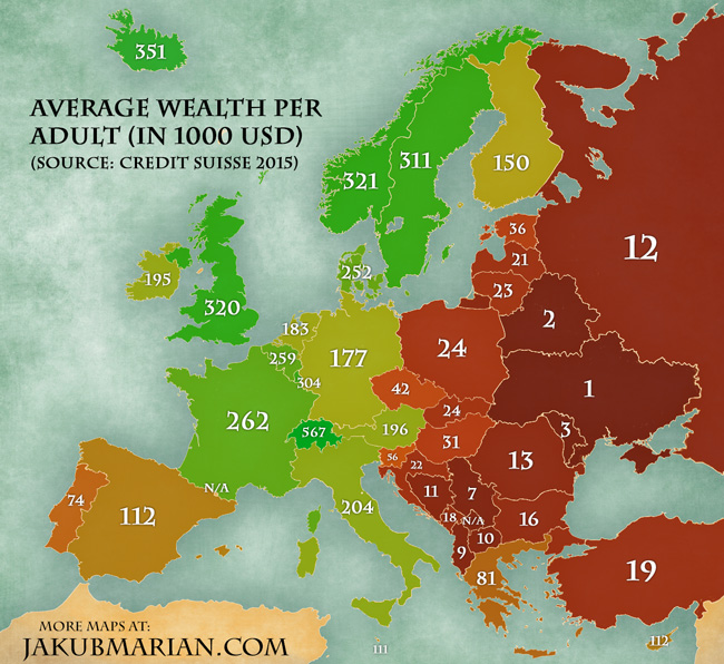 Average wealth per adult (in 1000 USD)