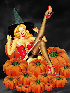 Halloween Pinup art Pumpkin Patch
