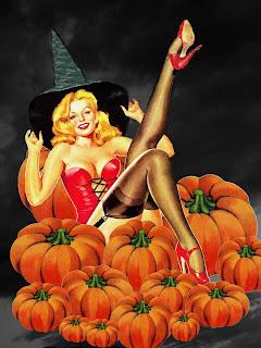 Halloween Pinup art Pumpkin Patch